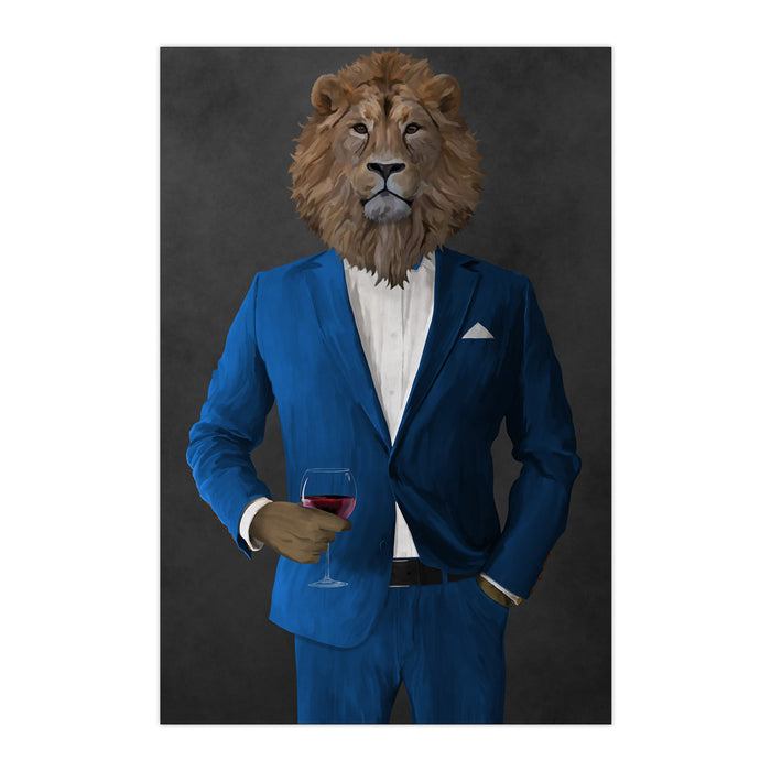 Lion Drinking Red Wine Wall Art - Blue Suit