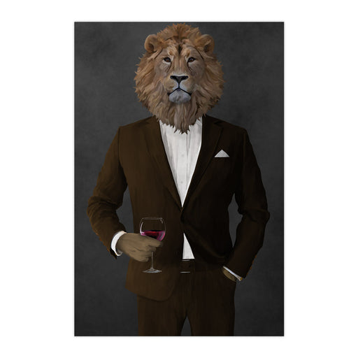 Lion Drinking Red Wine Wall Art - Brown Suit