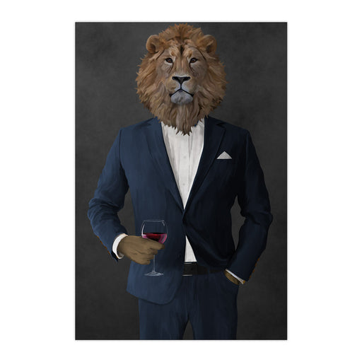 Lion Drinking Red Wine Wall Art - Navy Suit