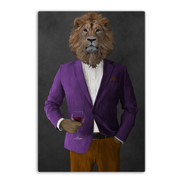 Lion Drinking Red Wine Wall Art - Purple and Orange Suit