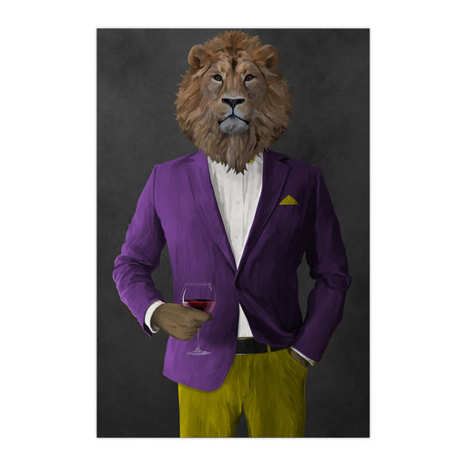 Lion Drinking Red Wine Wall Art - Purple and Yellow Suit