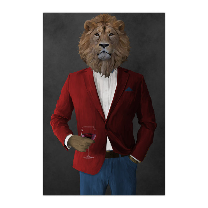 Lion Drinking Red Wine Wall Art - Red and Blue Suit