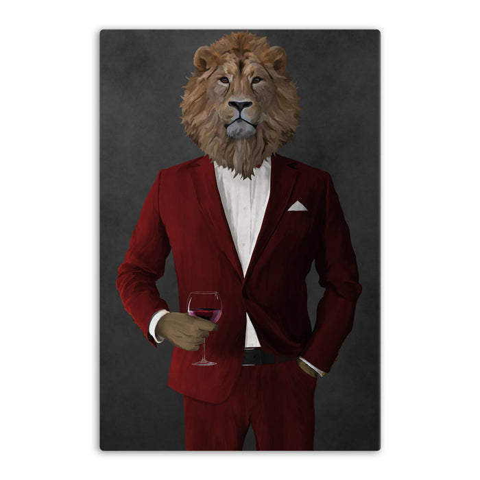 Lion Drinking Red Wine Wall Art - Red Suit