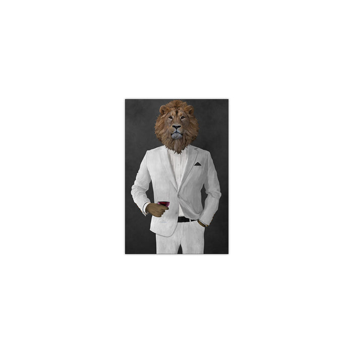 Lion Drinking Red Wine Wall Art - White Suit