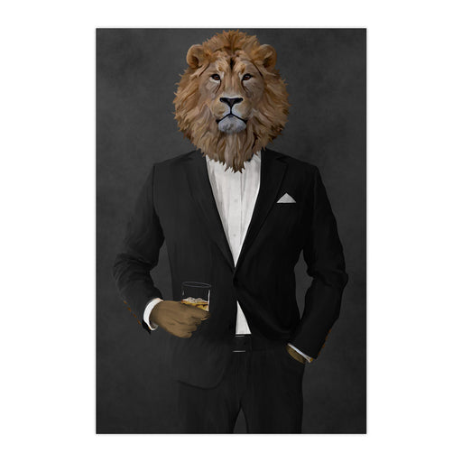 Lion Drinking Whiskey Wall Art - Black Suit