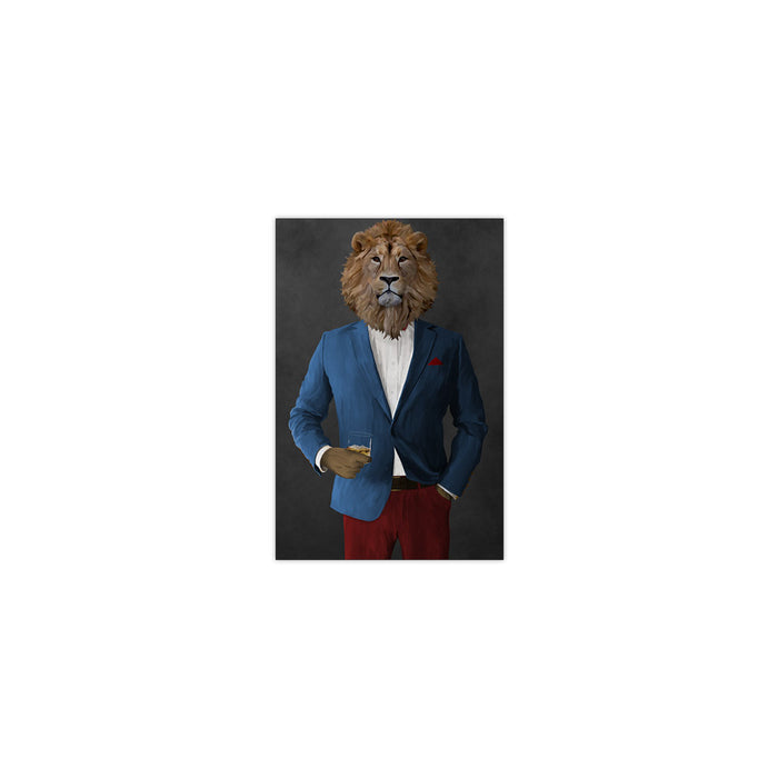 Lion Drinking Whiskey Wall Art - Blue and Red Suit