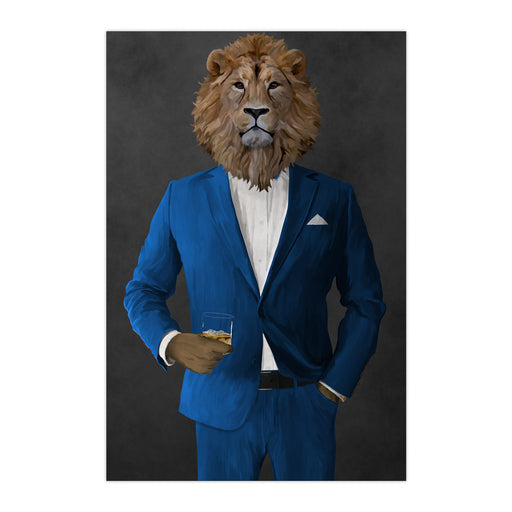 Lion Drinking Whiskey Wall Art - Blue Suit