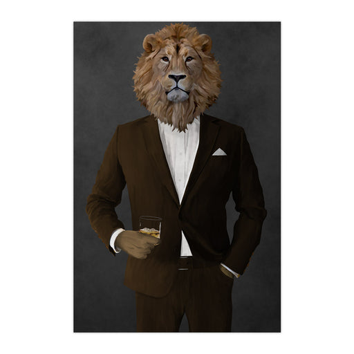 Lion Drinking Whiskey Wall Art - Brown Suit