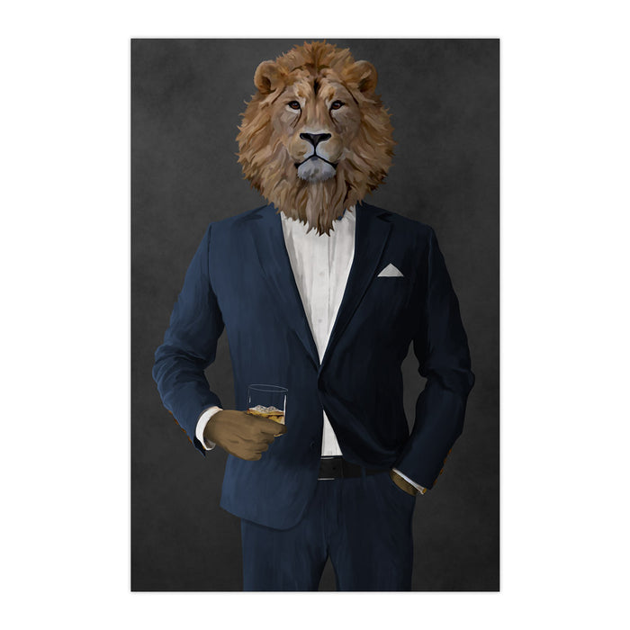Lion Drinking Whiskey Wall Art - Navy Suit