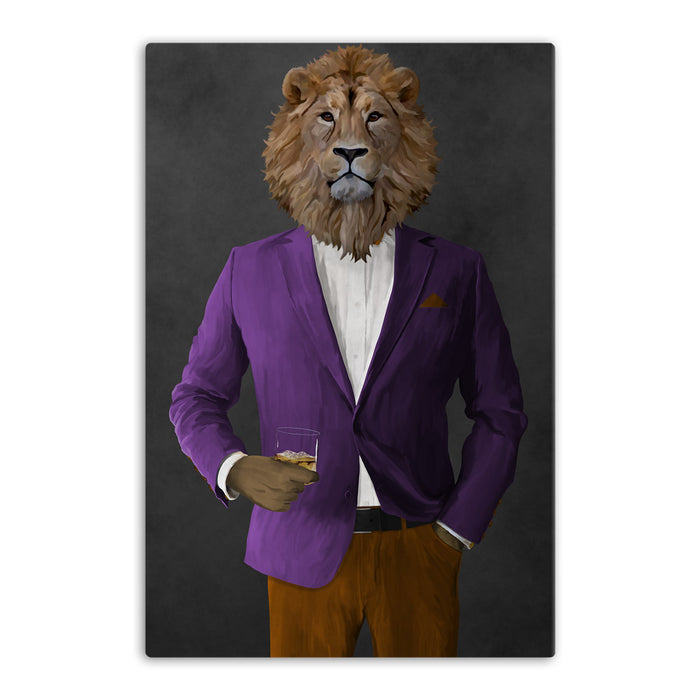 Lion Drinking Whiskey Wall Art - Purple and Orange Suit