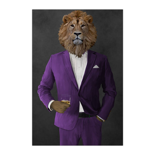 Lion Drinking Whiskey Wall Art - Purple Suit