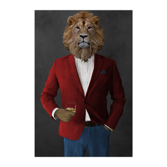 Lion Drinking Whiskey Wall Art - Red and Blue Suit