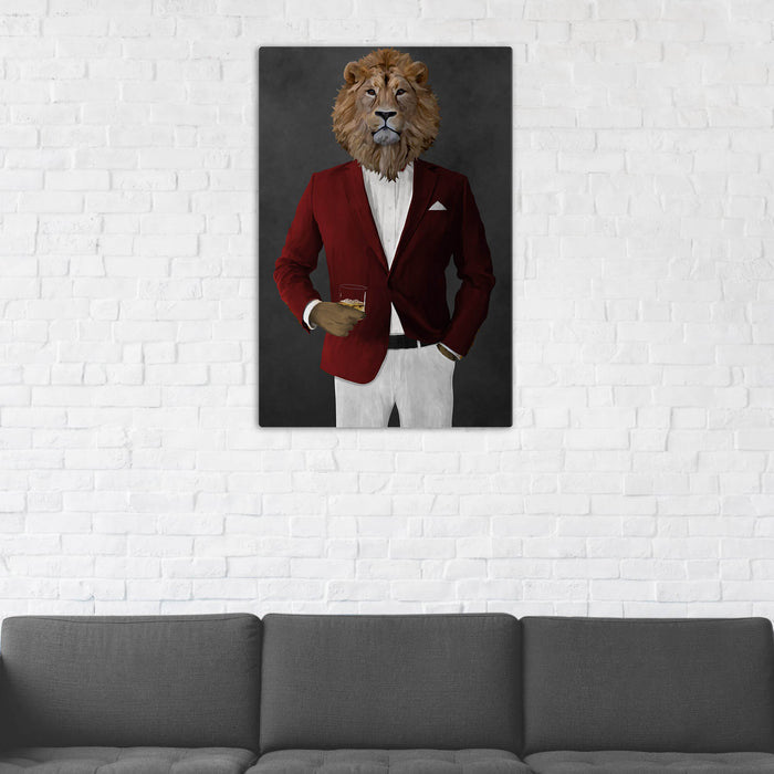 Lion Drinking Whiskey Wall Art - Red and White Suit