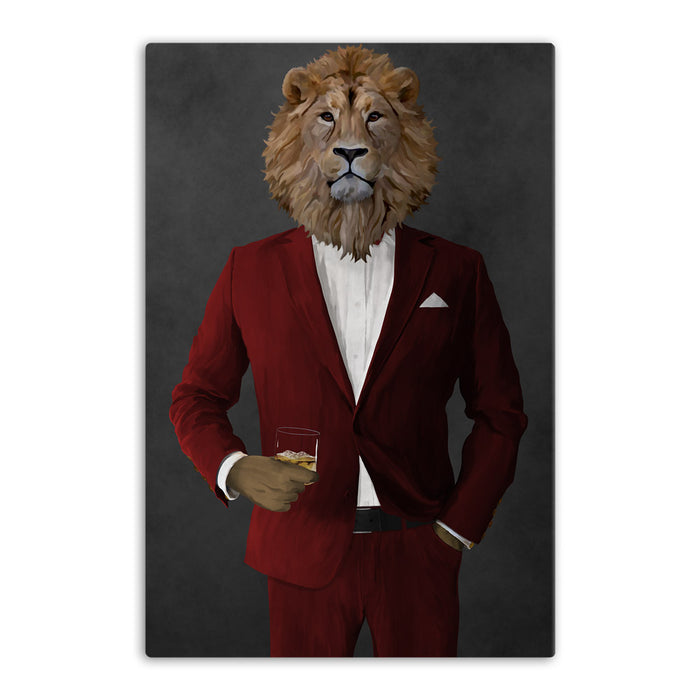 Lion Drinking Whiskey Wall Art - Red Suit