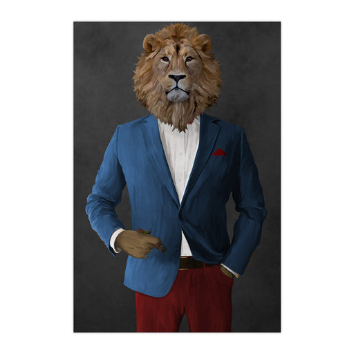 Lion Smoking Cigar Wall Art - Blue and Red Suit