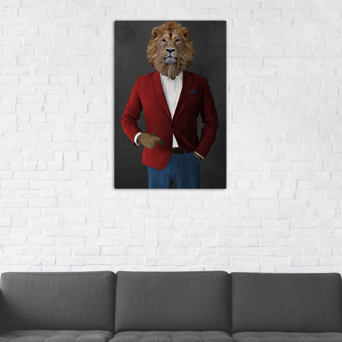 Lion Smoking Cigar Wall Art - Red and Blue Suit