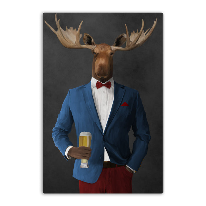 Moose drinking beer wearing blue and red suit canvas wall art