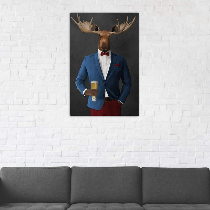 Moose Drinking Beer Wall Art - Blue and Red Suit