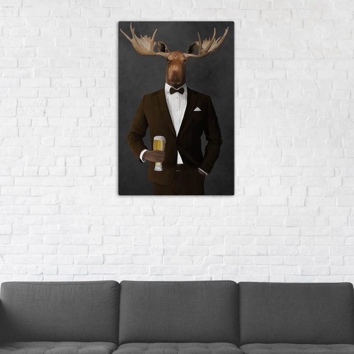 Moose Drinking Beer Wall Art - Brown Suit