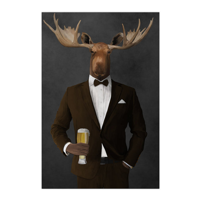 Moose drinking beer wearing brown suit large wall art print