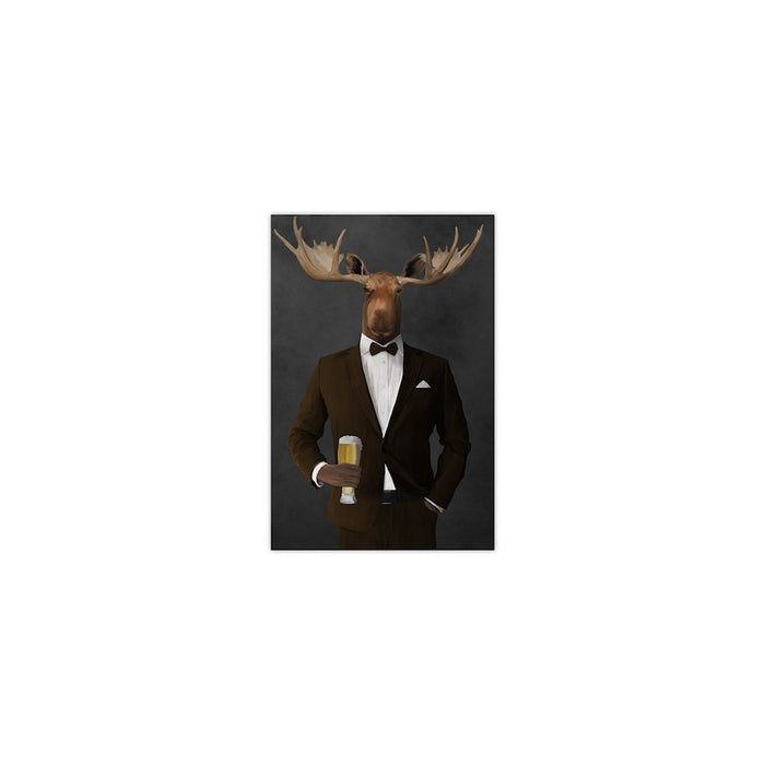 Moose drinking beer wearing brown suit small wall art print