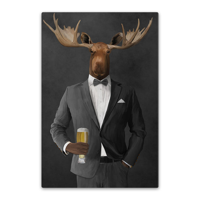 Moose drinking beer wearing gray suit canvas wall art