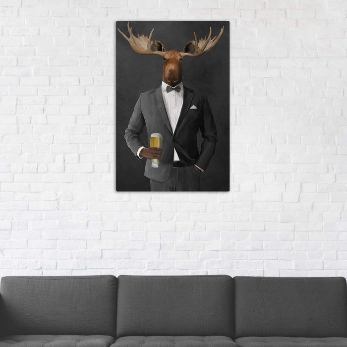 Moose Drinking Beer Wall Art - Gray Suit