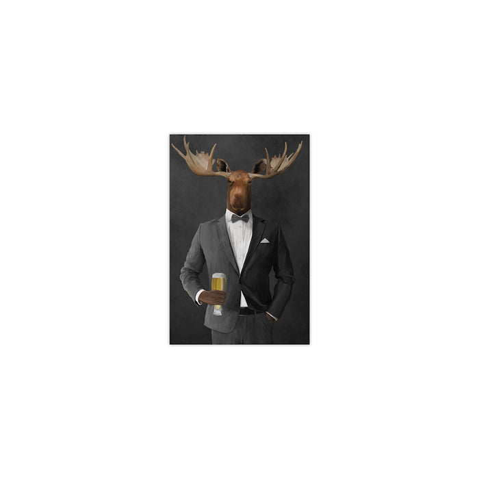 Moose drinking beer wearing gray suit small wall art print