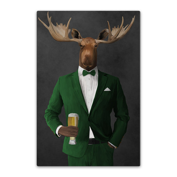 Moose drinking beer wearing green suit canvas wall art
