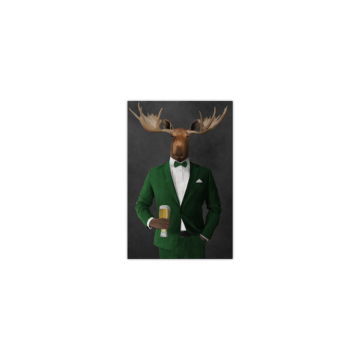 Moose drinking beer wearing green suit small wall art print