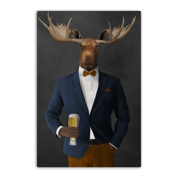 Moose drinking beer wearing navy and orange suit canvas wall art