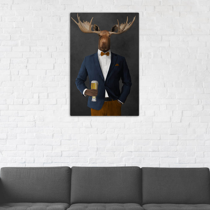 Moose Drinking Beer Wall Art - Navy and Orange Suit