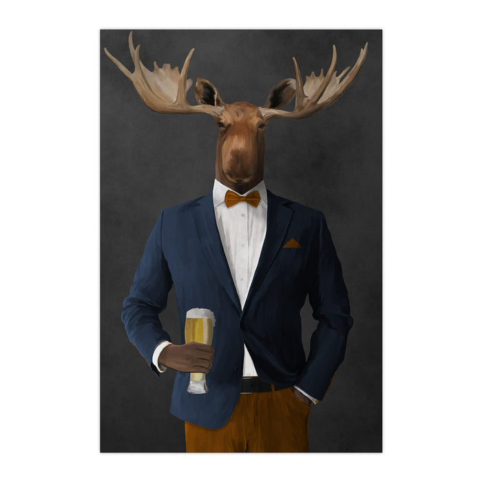 Moose drinking beer wearing navy and orange suit large wall art print