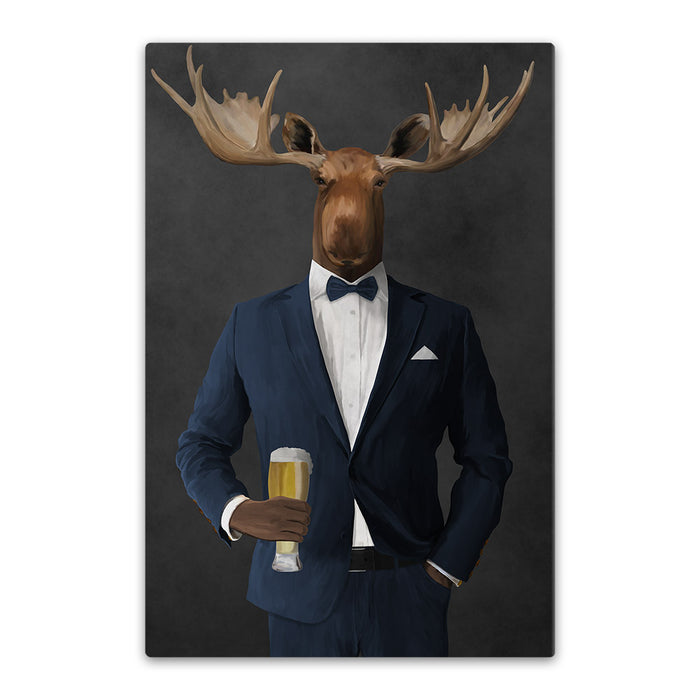 Moose drinking beer wearing navy suit canvas wall art