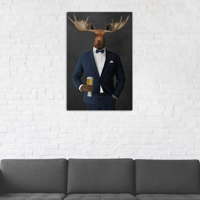 Moose Drinking Beer Wall Art - Navy Suit