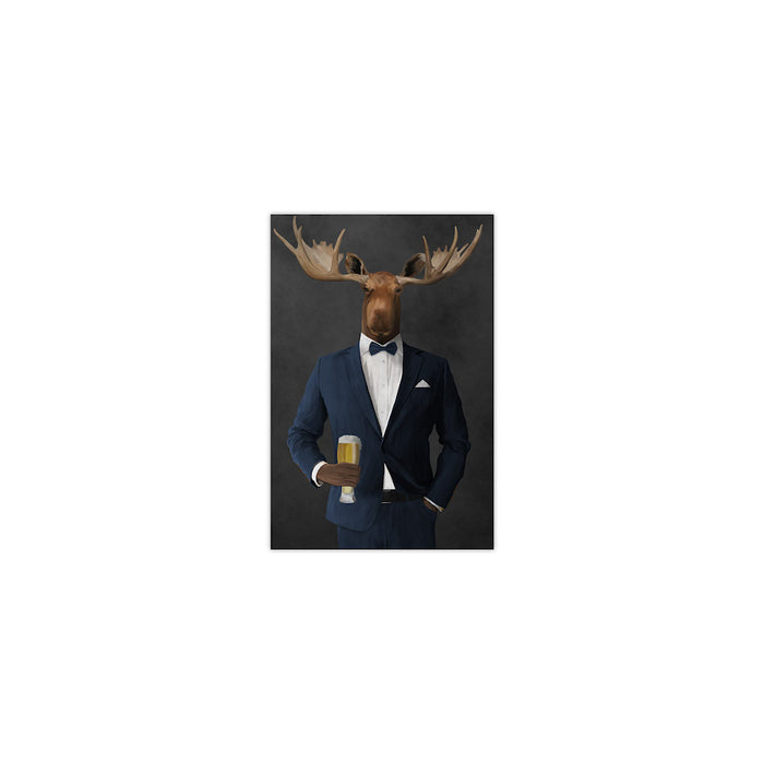 Moose drinking beer wearing navy suit small wall art print
