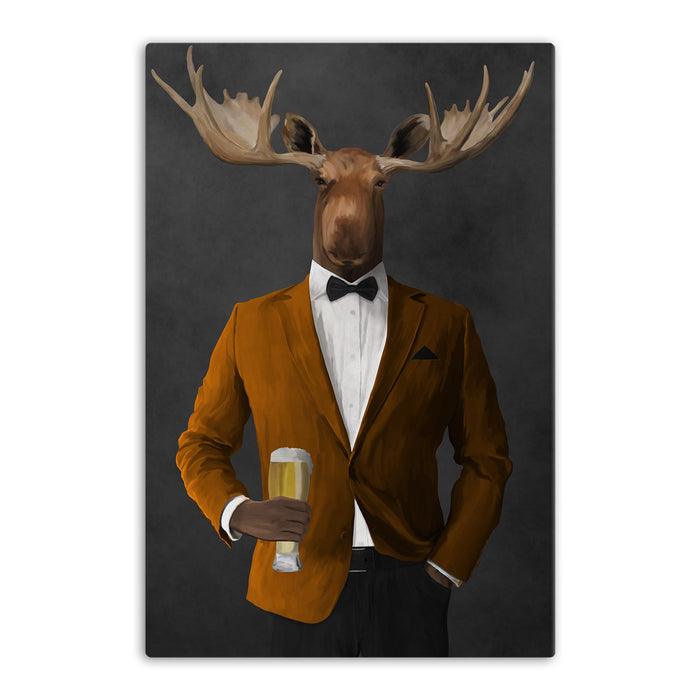 Moose drinking beer wearing orange and black suit canvas wall art