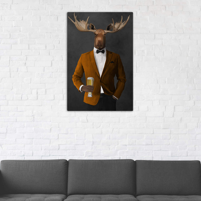 Moose Drinking Beer Wall Art - Orange and Black Suit