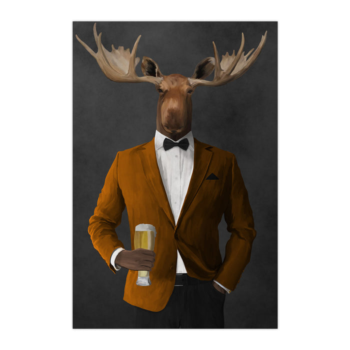 Moose drinking beer wearing orange and black suit large wall art print