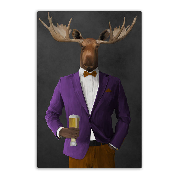 Moose drinking beer wearing purple and orange suit canvas wall art