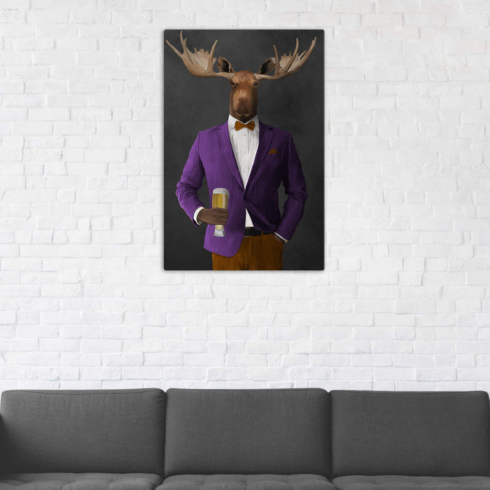 Moose Drinking Beer Wall Art - Purple and Orange Suit