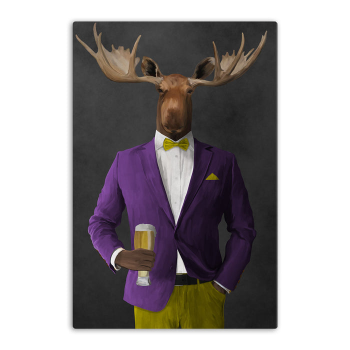 Moose drinking beer wearing purple and yellow suit canvas wall art