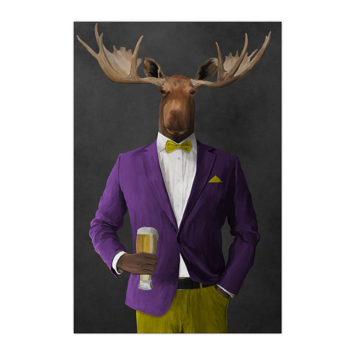 Moose drinking beer wearing purple and yellow suit large wall art print