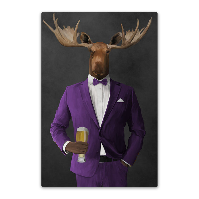 Moose drinking beer wearing purple suit canvas wall art