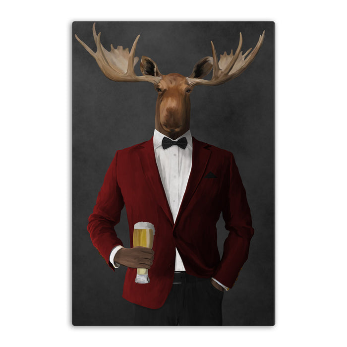 Moose drinking beer wearing red and black suit canvas wall art