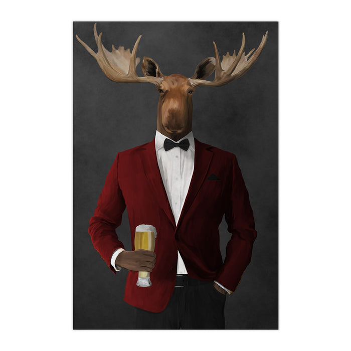 Moose drinking beer wearing red and black suit large wall art print