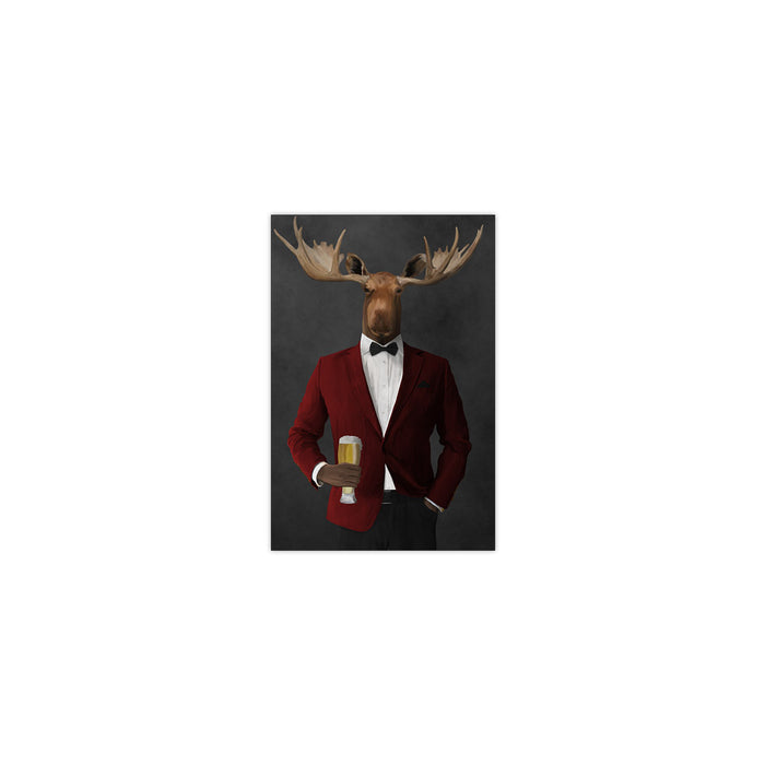 Moose drinking beer wearing red and black suit small wall art print