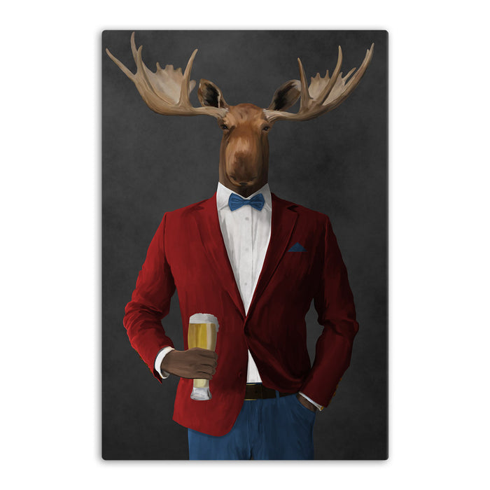 Moose drinking beer wearing red and blue suit canvas wall art