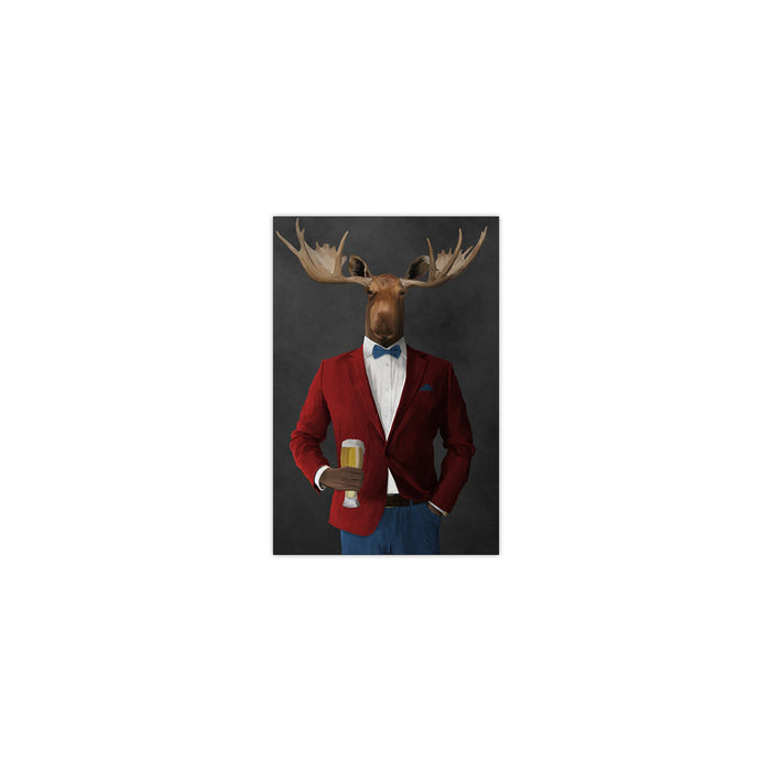 Moose drinking beer wearing red and blue suit small wall art print