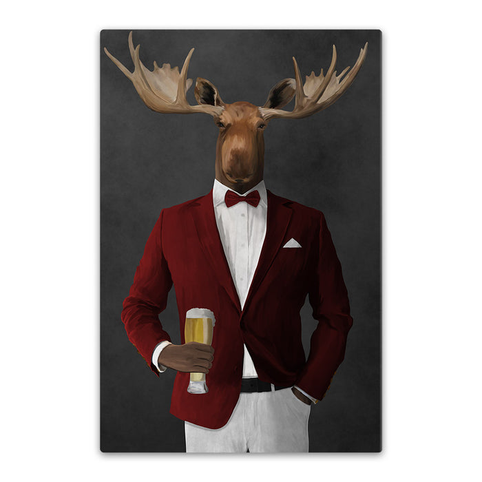 Moose drinking beer wearing red and white suit canvas wall art
